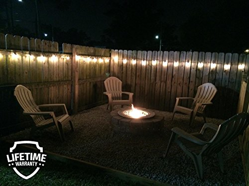 Lemontec String Lights,25FT Vintage Backyard Patio Lights with 25 Clear Globe Bulbs-UL listed for Indoor/Outdoor Use, Globe Wedding Light, Deckyard Tents Market Cafe Porch Party (2 Pack 50 Bulbs 50FT) by Lemontec (Image #4)