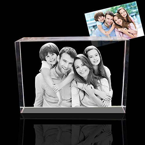 Qianruna 2D/3D Laser Crystal Photo Personalized Etched Engrave Birthday Gift,Wedding Ornament