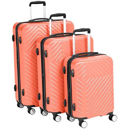 """AmazonBasics Geometric Luggage Expandable Suitcase Spinner - 3 Piece Set (20"""", 24"""", 28""""), Sunset- Red/Orange"""