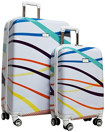 Nicole Miller Rainbow Hard-Sided 2-Piece Spinner Set: 28' and 20' (White)