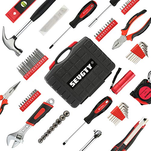 SEVGTY 78 Pcs Hand Tool Set Basic Home Tool Set Household Tool Kit with Plastic Blow Molded Tool Box Storage Case - Ideal for Home Repair & Maintenance from SEVGTY