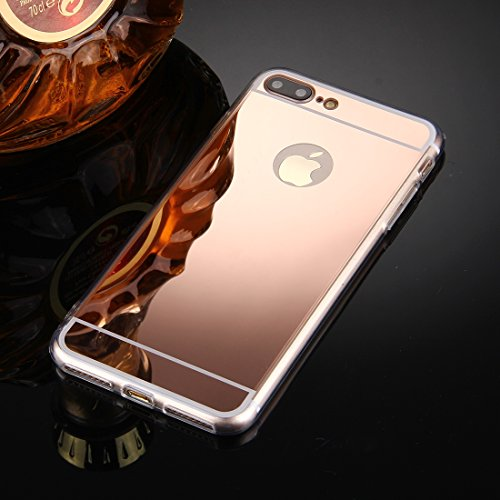König-Shop Handy Hülle Spiegel Mirror Soft Case Schutz Hülle Cover für Apple iPhone 7 Plus Rose Gold