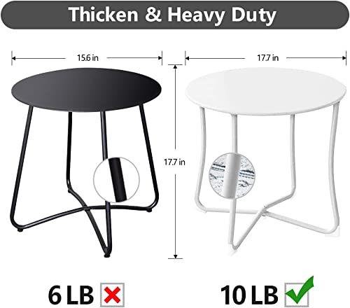 Amagabeli Metal Patio Side Table 18 x 18 Heavy Duty Weather Resistant Anti-Rust Outdoor End Table Small Steel Round Coffee Table Porch Table Snack Table