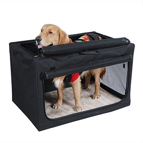 (Petsfit Portable Soft Large Dog Crate Travle Dog Crate for Medium to Large Dog Soft Sided Pet Crate Black 36