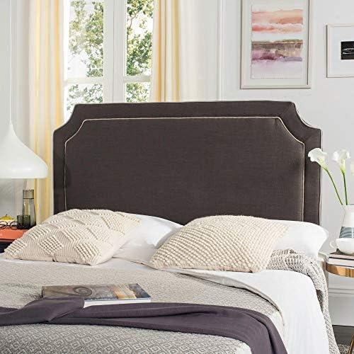 Best modern headboard: Safavieh Dane Charcoal Grey/ Light Grey Piping Linen Upholstered Headboard Queen