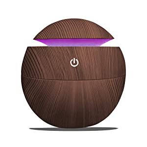 Ultrasonic Essential Oil Diffuser – Mini Desktop Aromatherapy Air Cool Mist Humidifier For Office, Yoga Room & Study - 130ml Home Fragrance Wood Grain Aroma Oils Diffuser With LED Light