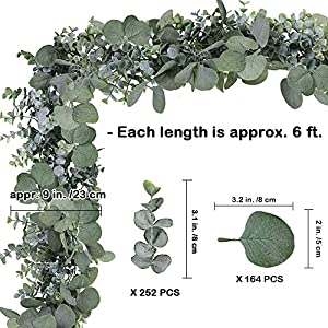 SUPLA 5.9' Long Faux Eucalyptus Leaves Greenery Garland Artificial Silver Dollar Eucalyptus Garland in Grey Green Wedding Arch Swag Backdrop Garland Doorways Table Runner Garland Indoor Outdoor 2
