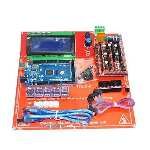 3D Printer & Supplies - 3D Printer Module Board - 3D Printer Kit Ramps 1.4+Arduino Mega 2560+DRV8825+2004 LCD+PCB Heat Bed MK2B by OCHOOS