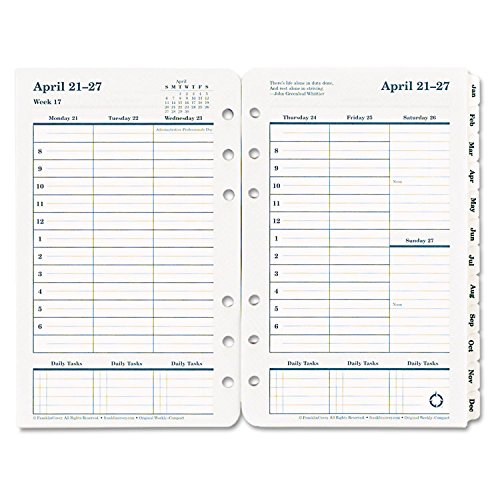 Franklin Covey 2017 Dated Weekly/Monthly Planner Refill, 4.25 x 6.75 - Inch (Refills Dated Weekly Appointment)