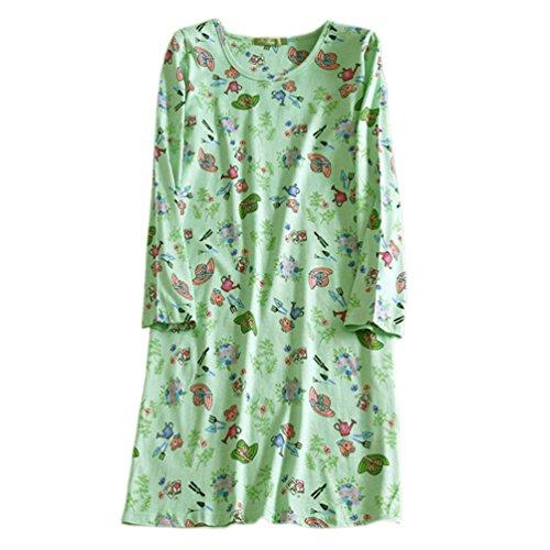 Light Green Long Sleeve Nightgown - ENJOYNIGHT Women's Cotton Sleepwear Long Sleeves Nightgown Print Tee Sleep Dress (Medium, Light Green)