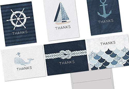 Nautical Thank You - 36 Note Cards - 6 Designs - Blank Cards - Gray Envelopes Included