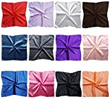 LilMents 12 Mixed Designs Small Square Satin Womens Neck Head Scarf Scarves Bundle Lot Set (Set B)