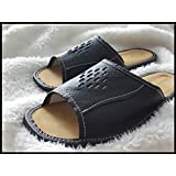 Mens 100% Black Natural Leather Slippers UK Size 7, 8, 9, 10, 11, 12 Shoes