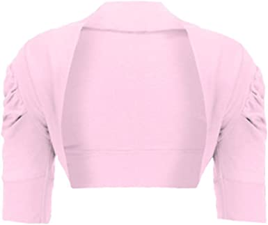 New Womens Ruched Short Sleeve Cotton Cropped Shrug Bolero Open Cardigan Top