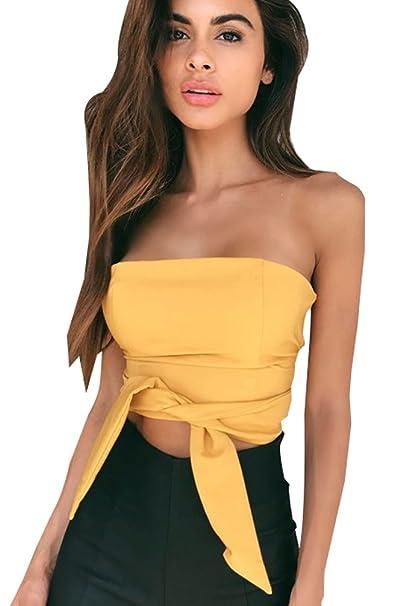 ... Sin Mangas Casual Fiesta Tank Crop Tops Señora Elegantes Cropped Blusas Camisa Chaleco Bonitas Moda Cortas T Shirt: Amazon.es: Ropa y accesorios