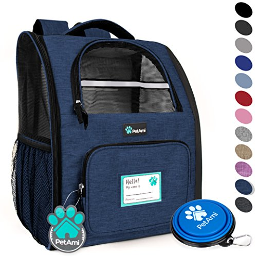 Cat Back Cat - PetAmi Deluxe Pet Carrier Backpack for Small Cats and Dogs, Puppies | Ventilated Design, Two-Sided Entry, Safety Features and Cushion Back Support | for Travel, Hiking, Outdoor Use (Heather Navy)