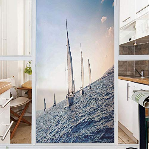 Decorative Window Film,No Glue Frosted Privacy Film,Stained Glass Door Film,Racing Sailboats in Mediterranean Sea Adventure Winner Sports Freedom Photo,for Home & Office,23.6In. by 47.2In Blue White