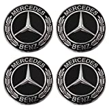 ORFORD Wheel Center Hub Caps Fit for Mercedes Benz, 4PCS 75mm/2.95'' Hub Cap Cover (Black)
