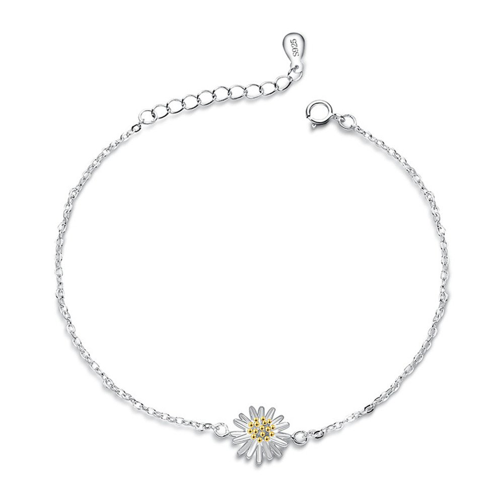 S925 Silver Plated Gold Daisy Sunflower Women Adjustable Bracelet, 7.9'' lobster clasp 7.9'' lobster clasp BulingVV BLVV24