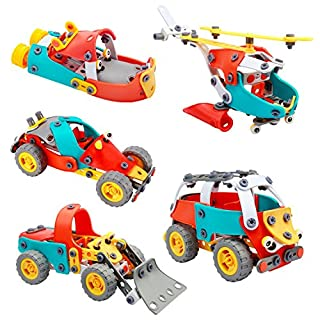 Geacool Building Toys 5-in-1 Build and Play Set Colorful STEM Learning Toys Kids 148 PCS Educational Engineering Construction Building Blocks for 8, 9, 10, 11, 12 Years Old Boys Girls and Toddlers
