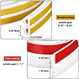 "Soundproof Weather Stripping Door Draft Stopper Kit White,16Ft Self Adhesive Windows Weatherstrips And 39"" Length Door Sweep Wind Dust Draft And Insect Proof Seal Rubber Door Strips To Seal Door Crack"
