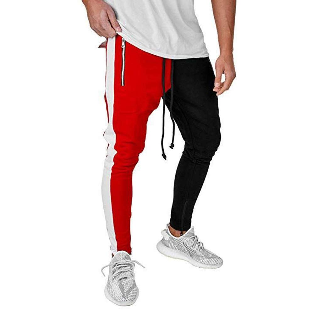 Alueeu Men's Skinny Pants Splice Fashion Sweatpants Fashion Men's Slim Pure Color Casual Sports Pocket Colors Feet Pants Red by Alueeu Men's