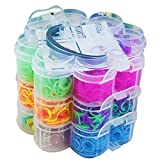 OUMANKE Premium 4500 Rubber Band Bracelet Rainbow Color Loom Bands 15 Beautiful Colors +6 Charms+50 Beads+48 S Clips+2 Loom Band Organizer+6 Small Hook+1 Big Hook+2 Slingshot