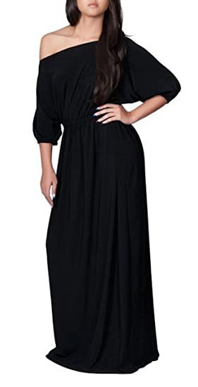Sekitoba Japanc Long One Shoulder Maxi Dress 34 Sleeve For Women