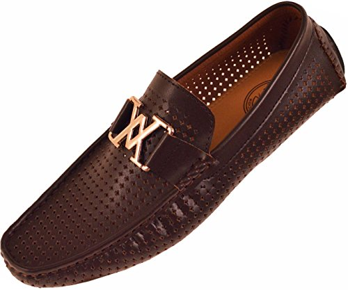 Amali Mens Driving Moccasin Loafer in Diamond Perforated Smooth with Gold Ornament in Brown: Style 1425 Brown-065 9 D (M) US