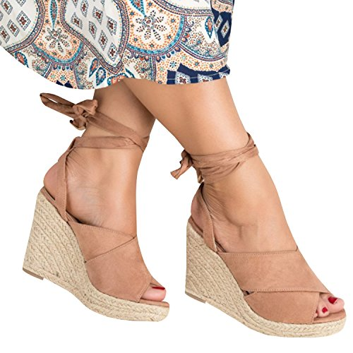 Syktkmx Womens Espadrille Platform Wedge Cross Strap Peep Toe Lace up Mid Heel Sandals