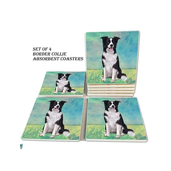 Border Collie Coasters - Moisture Absorbing Stone Coasters with Cork Base, Prevent Furniture from Dirty and Scratched, Stone Coasters set Suitable for Kinds of Mugs and Cups, Set of 4 1