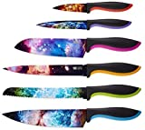Cosmos Kitchen Knife Set in Gift Box - Unique Gifts For Men and For Women - 6-Piece Colorful Cooking Chef Knives Set - Best Xmas Gift, Birthday, Anniversary or Appreciation Present Idea - Regalos