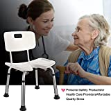 Adjustable Sturdy Aluminium Handicap Medical Shower Stool Seat Bench Bath Chair Bathroom Aid Chair with Backrest for Elderly, Disabled