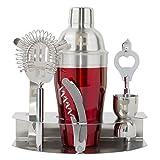 Image of Mix your drinks like a Pro - Cocktail Shaker Set -7pc Bar tool Accessories - Bartender Martini/Margarita mixer, Jigger,Strainer,Tongs, Corkscrew Opener carry-on rack & Bonus Recipe Book- Eximius Power