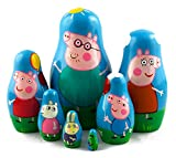 Peppa Pig Family Matryoshka Wooden Russian Nesting Dolls Kids Room Decor Art Crafts Gifts 7pc