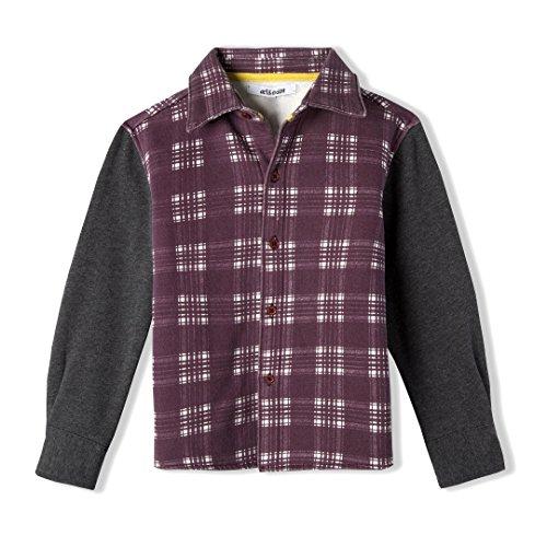 Red Eden Art - art & eden Boy's 100% Organic Cotton Plaid Long Sleeve Shirt