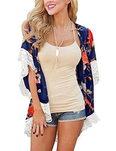 Kimono Top Floral (Women Sexy Beach Bikini Cover Up Chiffon Lace Floral Printed Casual Kimono Cardigan Coat Blouse Top X-Large)