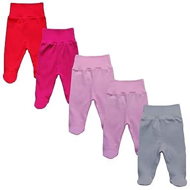 a021d987eb MEA BABY Unisex Baby Hose mit Fuß aus 100% Baumwolle im 5er Pack. Baby