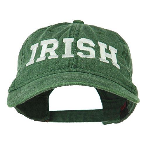 Hat Baseball Irish (E4hats Irish Embroidered Washed Pigment Dyed Cap - Dark Green OSFM)