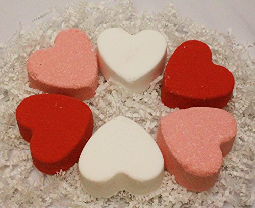 Bath Bombs   Gift Set Contians 6 Organic 3Oz Heart Shaped Bath Bombs For Women  Men And Children And Make Great Gifts For Mothers Day
