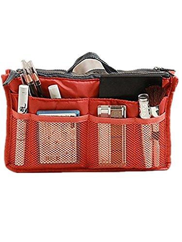 Lyuboov 12 tasche inserisce il sacchetto cosmetico della borsa dell'organizzatore di corsa (black) Red