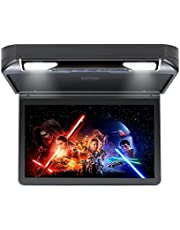 RoverOne 13.3inch Flip Down DVD Player with HDMI SD USB IR FM Speaker Game 120°Rotating Screen Car Overhead Video