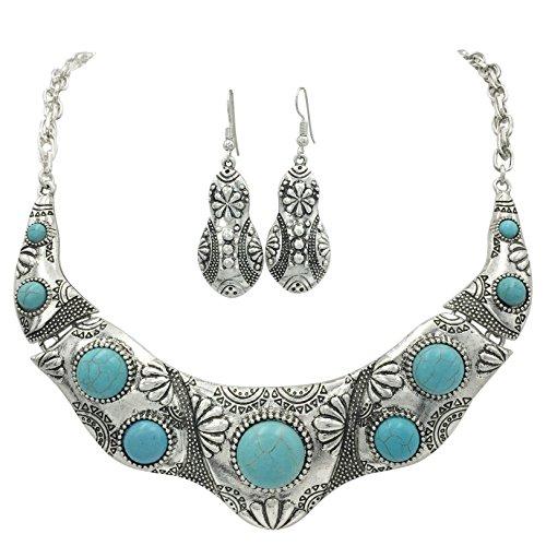 Imitation Necklace Earrings Bracelet (Western Style Imitation Turquoise Necklace and Earrings Set (Stamped Scoop))
