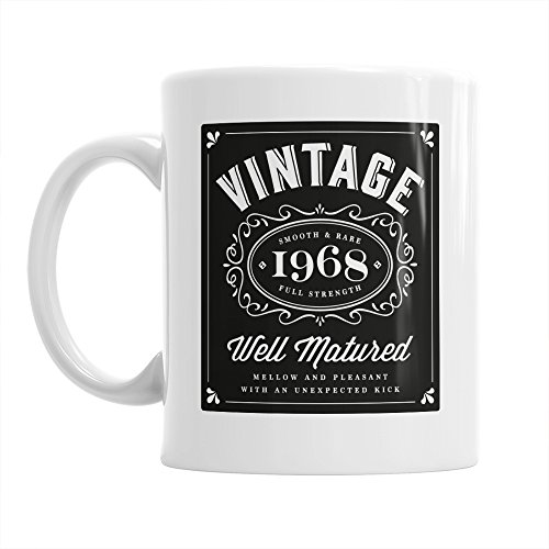 50th Birthday Gift Gifts For Men Women 1968 Vintage Bourbon Coffee Mug