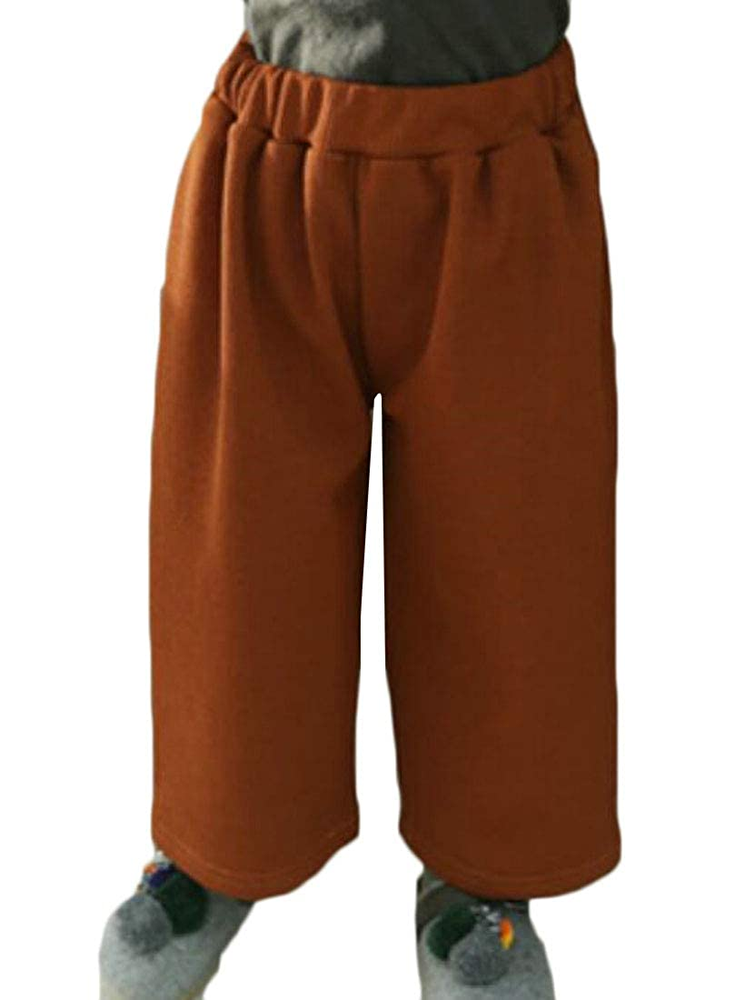 Wofupowga Girl Loose Fit Sherpa Lined Elastic Waist Winter Palazzo Pants Pants Trousers
