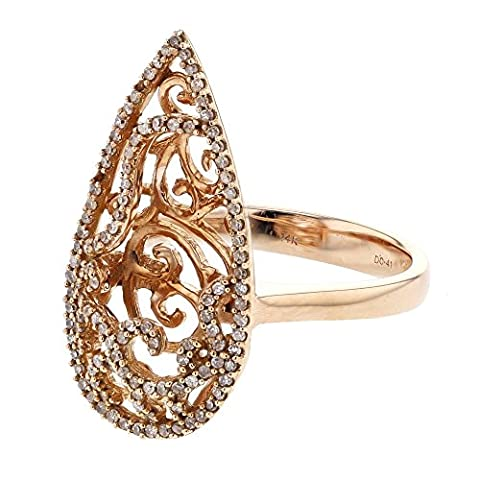 0.40ctw. Round Diamonds 14k Pink Gold Antique-Style Pear Shaped Ring