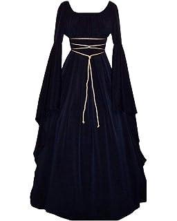 Vestido De Traje Renacentista Medieval Vestido Largo De Estilo Victoriano Gotico con Mangas Llamaradas