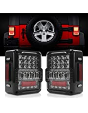 DOT Approved 4D LED Tail Lights Compatible with 2007-2017 Jeep Wrangler JK Brake Reverse Light Rear Back Up Lights Daytime Running Lamps,EMC Build-in