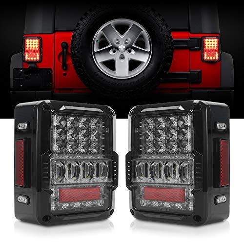 DOT Approved 4D LED Tail Lights for 2007-2017 Jeep Wrangler JK Brake Reverse Light Rear Back Up Lights Daytime Running Lamps,EMC Build-in