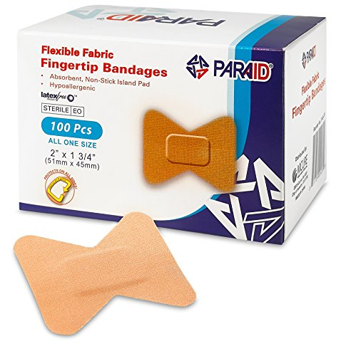 Flexible Fabric Bandages - Flex Fabric Adhesive Bandages Finger-Tip Bandages for Finger Care and to Protect Wounds from Infection - (100 Count Box) (Bandages Adhesive Fabric Flexible Sterile)